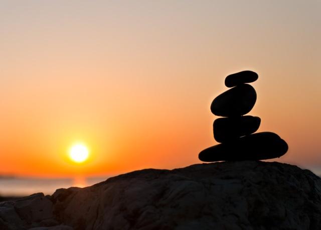 Balanced rocks at sunrise
